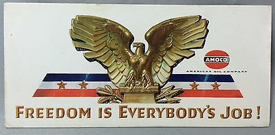 Vintage Original WWII Eagle Freedom AMOCO Gas & Oil Auto Advertising Ink Blotter