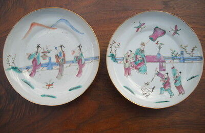 antique PAIR SIGNED CHINESE PORCELAIN PLATES RED BATS
