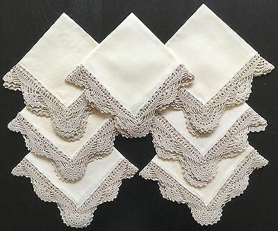 7x Beige Linen Table Napkins with Hand Crochet Edging