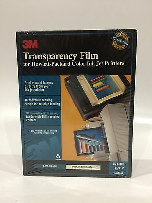 NEW 3M Transparency Film For HP Ink Jet Printers CG3460 50 Sheet Factory Sealed