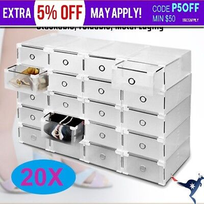 20pcs Shoe Storage Cases Stackable Foldable Clear  Drawer Boxes Home Wardrobe