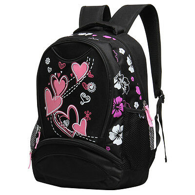 Girls Heart Print School Backpack Kids Travel Floral Shoulder Bag Cute Daypack