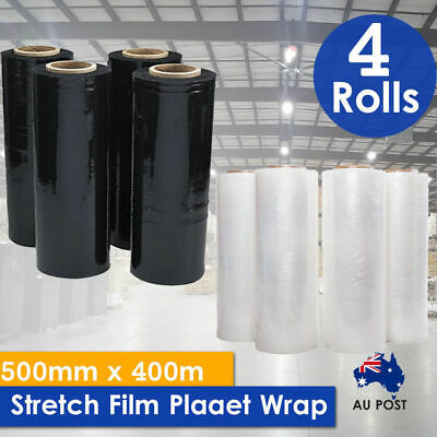 1/2/4/8 Rolls 500mmx400m Stretch Film Pallet Wrap 20UM Carton Shrink BLACK/CLEAR