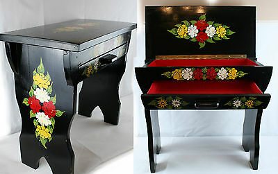 Antique Black floral handpainted drawer table desk small beautifull painted