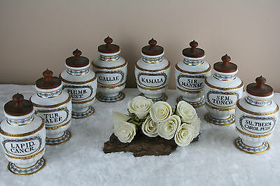 SET 8 rare French Antique porcelain apothecary jars wood lid with text 1935