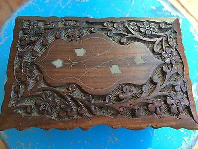 Indian Carved Wood And Brass Inlay Box