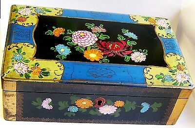 Beautiful Large Hand decorated or Painted Victorian Paper Machet Box.