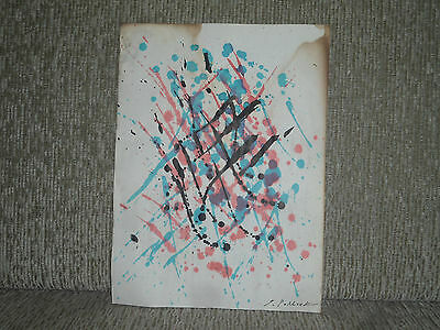 Jackson Pollock - Signed Vintage Watercolor - Rare Old Painting, On Card Paper