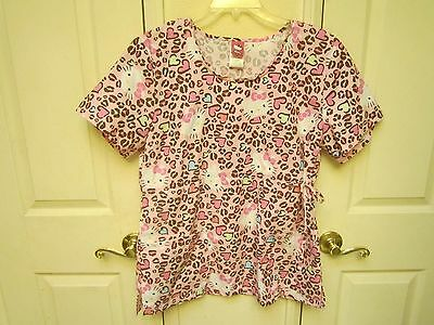 Hello Kitty NWOT Womans XL Scrub Uniform Top Pink with Leopard Print & Hearts!
