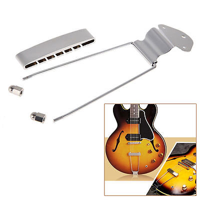 6 String Guitar Tailpiece Trapeze Open Frame Bridge Chrome For Archtop Guitar