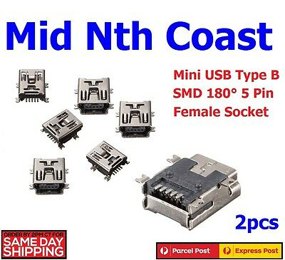 2pcs x Mini USB SMD/SMT 5 Pin Female Type B 180° Socket Connector 4 Pad