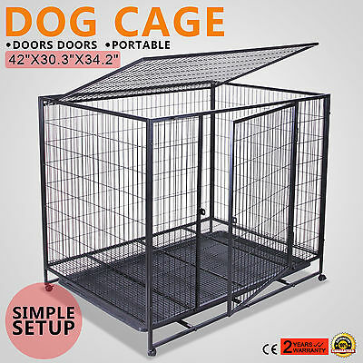 "42"" Dog Pet Cage Transport Box Carrier Crate 2 Door Large Extra Car Travel"