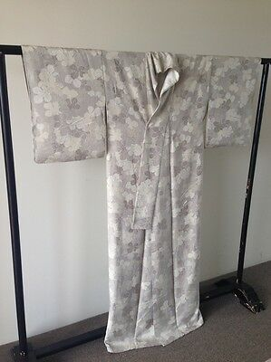Grey Silk Womens Vintage Japanese Kimono Robe One of a Kind Hand Made Costume