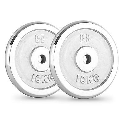 Capital Sports Pair Chrome Weight Plates 30 Mm Dumbell Barbell Gym Excercises