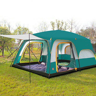 8 persons Tent Triple Family Camping Tents Three Rooms Waterproof Breathability