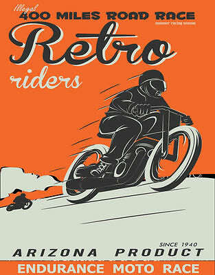 Retro Riders    Large  Metal Tin Sign Poster Wall Plaque
