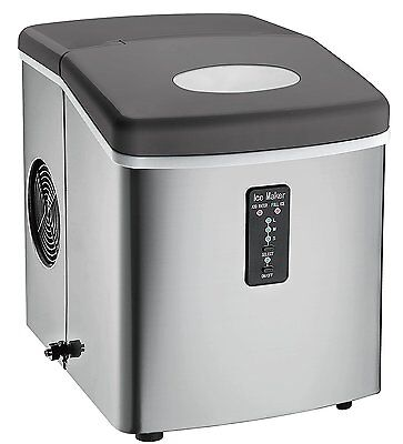 New Portable Counter Top Ice Maker Home Quck Fast Tray, 3.2L Stainless Steel