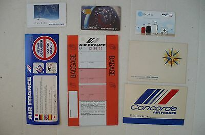 Air France Lot Etiquette /carte Telephonique / Billet Bagages/ Divers
