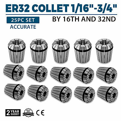 ER32 Collect 25PC Set 1/16-3/4 by 16th 32nd Industrial Tools Spring Collet Steel