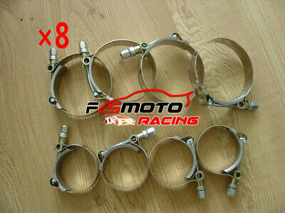 "8 x 2.5"" inch 63mm Turbo Pipe Hose Coupler T-bolt Clamps Stainless Steel 67-75mm"