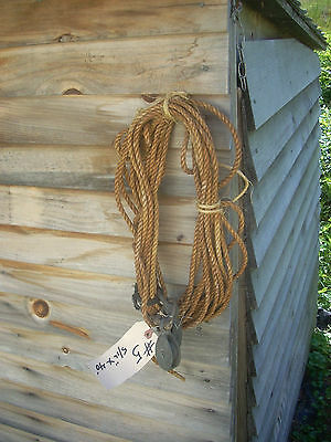 Vintage#5- fiber sail rigging rope line w/ WC pulleys brass sheaves