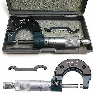 Engineers 0-25mm Metric External/Outside Micrometer & Case Caliper Measuring New