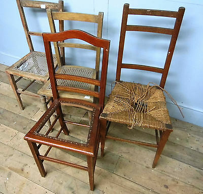4 Antique Edwardian bedroom chairs A/F