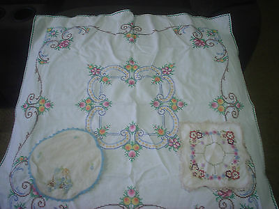 Vintage Embroidered Tablecloth & Doilies Very Pretty