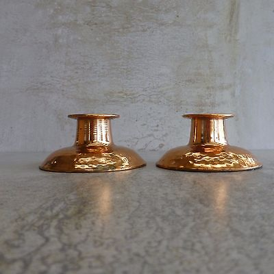 2 Vintage Rodd Copper Candlestick Holders Made in Australia 1970s Pair Tarnished