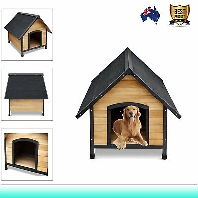 Timber Pet Dog Kennel House Large Frame Wooden Log Cabin Wood Indoor Outdoor NEW