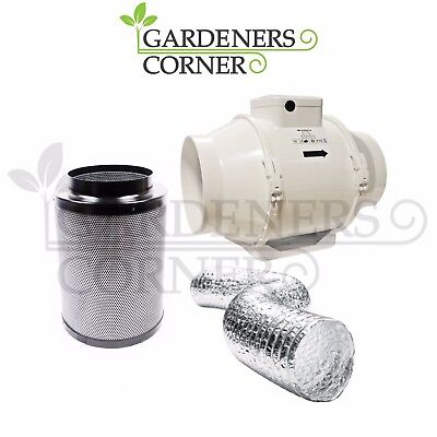"Hydroponics 6"" Inch 150mm Vents TT Fan Duct Extraction Carbon Filter Ducting Kit"