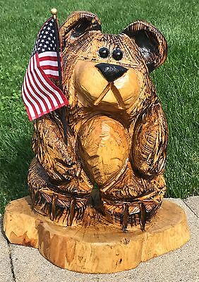 Chainsaw Carving Art Bear with Beer Belly Log Cabin Country Porch Mantle Decor