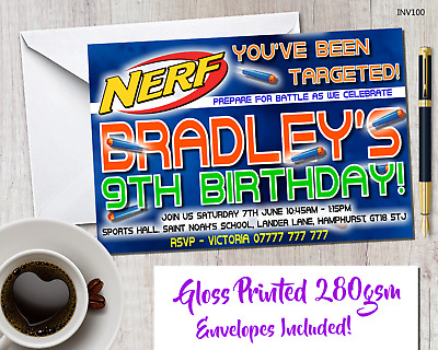 Personalised  Nerf Wars Glossy Party Invitations With Envelopes & Glossy Posters