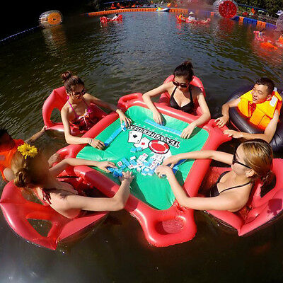 Inflatable Lounge Raft Pool Water Floating Texas Poker Table W/ Chair Boat