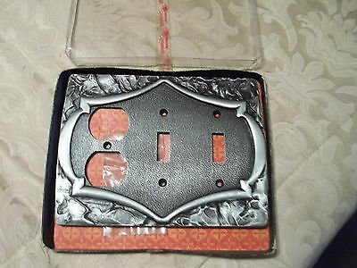 NOS Amerock Combo Outlet / Double Switch Plate, Antique Silver, Free S/H