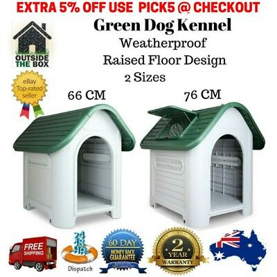 Pet Dog Kennel Weatherproof Plastic Outdoor Indoor Puppy Garden House Medium New