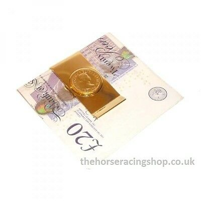Horse Racing 'Lucky Sixpence Gold Finish Money Clip New