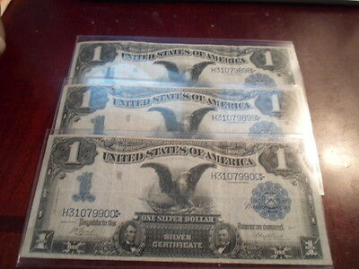 lot of 3 1899 one dollar black eagle silver certificate w/ consecutive serial #s