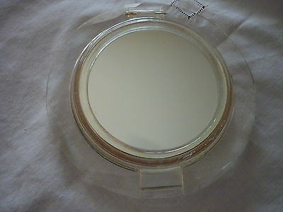 Vintage Art Deco Style Clear Lucite Flapjack Mirror/Powder Compact