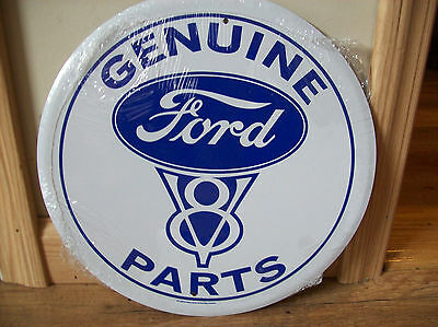 """New Genuine Ford Parts  12"""" Round Metal Sign"""