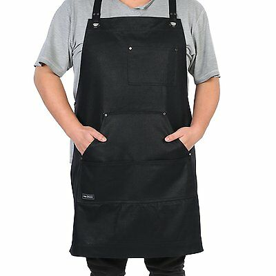 Waxed Canvas Apron, Clya Home Heavy Duty Waxed Work Apron Utility Apron with up