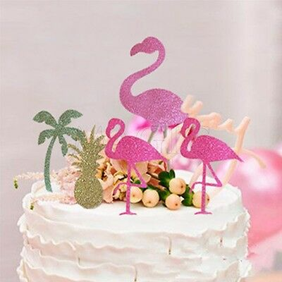 5pcs Cupcake Topper Sticks Cake Party Decor Flamingo Hawiian Tropical Pineapple
