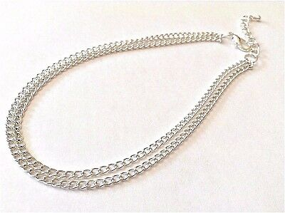 ~ Double Curb Chain Silver Anklet / Ankle Bracelet ~