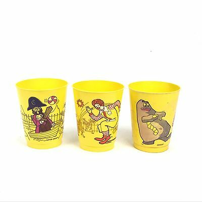 Lot of 3 vtg 1978 McDonald's Grimace Yellow Plastic Drinking Kids Cup Collect