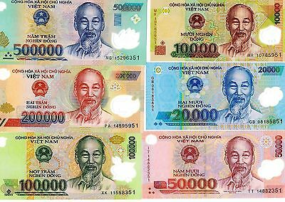 Vietnam 10000, 20000, 50000,100000, 200000 & 500000 Dong Uncirculated 6 Notes