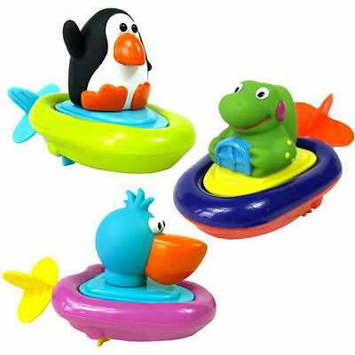 1pc Animal Baby Kid Child Pull Back and Go Wind Up Boat Bath Float Water Toy New