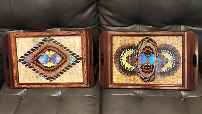 Carlos Zipperer BRASIL Butterfly Wing DISPLAY Wood Inlaid Tray Lot Of 2 ART