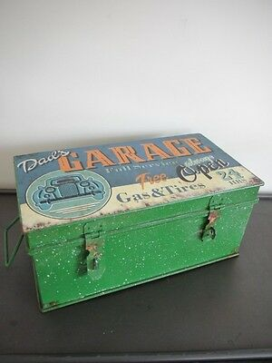 Vintage Fathers Day Dads Garage Storage Metal Tool Tin Mens Man Gift Box Large