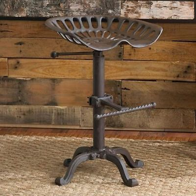 86cm Vintage Industrial Adjustable Cast Iron Tractor Seat Kitchen Bar Pub Stool