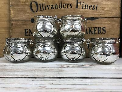 6x Vintage Silver Glass Wedding Tea light Candle Hanging Lanterns Holders
